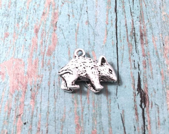 4 Mouse charms 3D antique silver tone - silver mouse pendants, rodent pendants, rat pendants, mice charms, rodent charms, Box 198