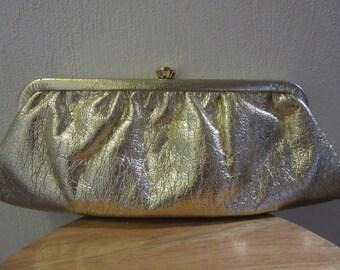 Gold Lame Clutch Purse, Gold Clutch Purse,