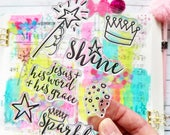Sparkle and Shine Stamps Christian Stamping Bible Journaling Star wand crown confetti party word geace doodle Growing Meadows TaiBender
