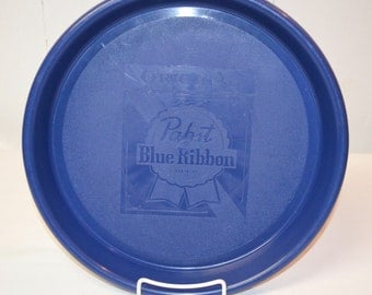 Vintage - Original Pabst Blue Ribbon Plastic Beer Tray - Dark Blue Bar Serving Tray - Breweriana Advertising Collectible - Milwaukee Brewer