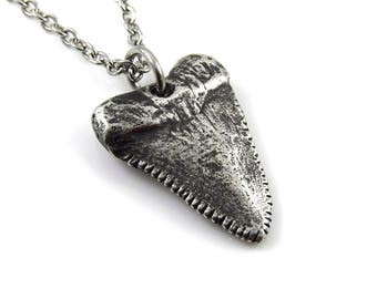Antiqued White Shark Tooth Pendant Necklace