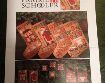 Vintage THE PRAIRIER SCHOOLER  Counted Cross Stitch Graph  Stockings & More 1990