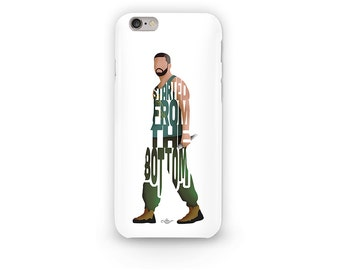 """Drake Phone Case Typography Design of Hip Hop Artist with His Lyrics """"Started From The Bottom"""" Drake Rapper iPhone Case For All i-Phones"""