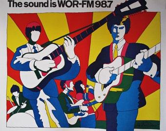 Milton Glaser WOR-FM 98.7 Poster 1966 - The Sound is Wor-FM 98.7 Original Poster designed by Milton Glaser