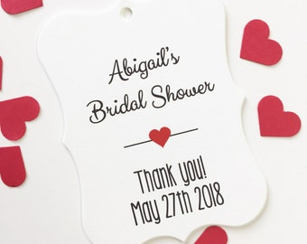 Bridal Shower Favor Tags, Customized Shower Tags, Bridal or Baby Shower Favor Tags  (EC-006)
