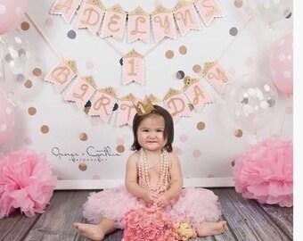 Pink and gold princess banner
