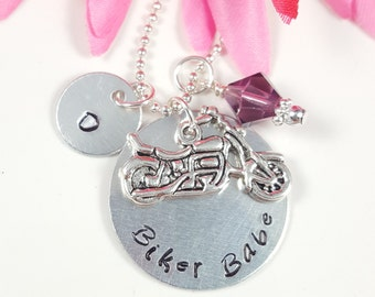 Motorcycle Gift Custom Hand Stamped Jewelry Hand Stamped Necklace Harley Gift Biker Babe Harley Girl
