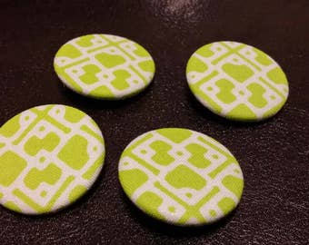 """Green, white, pattern, vintage, looking fabric, Pin, button, set 1.25"""""""