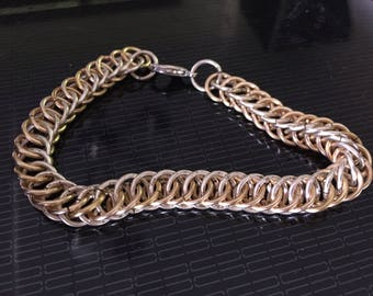 Half Persian 4 in 1 bracelet two tone with gold and silver plated rings