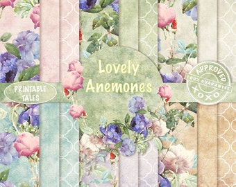 60% OFF SALE, Floral digital papers, Flowers Scrapbook Paper, Anemone, Dots Quatrefoil, Victorian Grungy Background pages, Commercial use