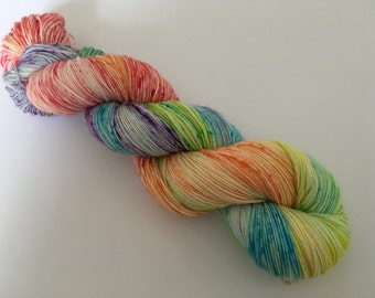 Speckled Rainbow Hand Dyed Superwash BFL/ Nylon Sock Yarn