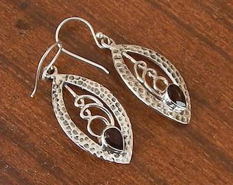 Smoky Quartz Earrings, Pear Cut Brown Smoky 925 Sterling Silver Statement Earrings, Wedding Gift Bezel Set Silver Dangle Earrings