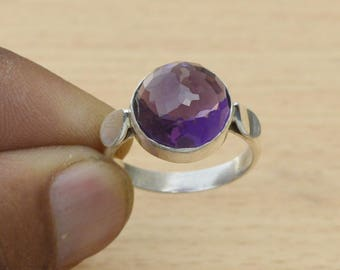 Amethyst Ring, Round Cut Purple Amethyst 925 Sterling Silver Ring, Birthstone Gift Ring,  Handmade Bezel Amethyst Ring Jewelry