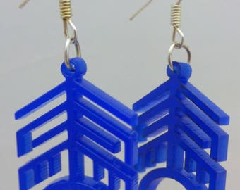 Laser cut earrings, blue, original design