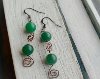 Green Glass Spiral Wire Work Earrings *** Free US Shipping ***