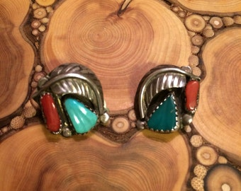 Old pawn coral and turquoise sterling silver earrings