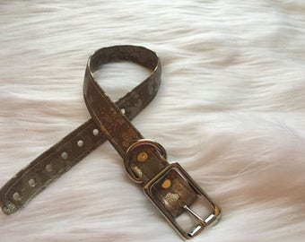 Gold Fuax Leather Infinity Collar with Green or White Stiching