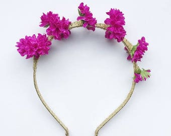 Floral Gold headband Bright Pink flowers