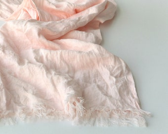 light pink linen scarf - pale pink wrap - extra long - large