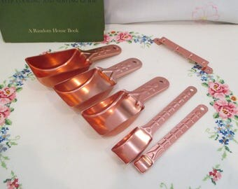 Vintage Pink Aluminum Copper Tone Measuring Cups/ Scoops and Spoons Mid-Century