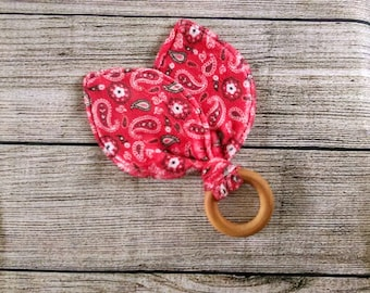 Natural Wood Bunny Ear Teether Ring -  Organic - Baby Shower Gift - Minky Fabric - Chew Toy - Soft Love -  Boy - Girl - Sensory Learning -
