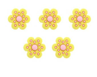 Flower Buttons Jesse James Buttons Whooo Loves You Dress It Up Buttons Pink Yellow Purple Color Choice Set of 5 Shank Back  -  143