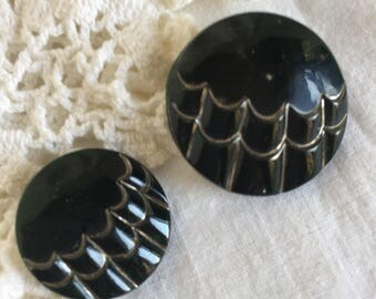 "Two Vintage Black Glass Art Deco with Silver Luster Buttons, 1 1/4"" and 7/8"""