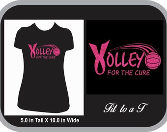 Volley For A Cure Glitter T-Shirt, Volleyball Breast Cancer Awareness Shirt