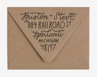 Triangle Flap Fill - Custom Hand Lettered Return Address Stamp