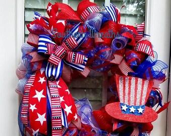 Uncle Sam Hat Wreath/Memorial Day Hanger/ July 4th Door Wreath/ Red White Blue Wreath/ Patriotic Door Wreath/ Everyday Wreath