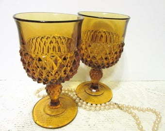Sale Glasses Amber Goblets Diamond Cut Stemware Set of two Indiana Vintage