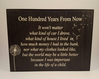 """100 Years From Now plaque 6x8"""""""
