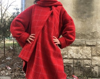 Womens oversized coat cardigan,Red loose coat, Shawl collar cardigan,Lagenlook Spring Cardigan,Asymmetrical Blanket Coat, Cape Coat