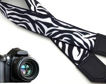 Zebra camera strap. Black and white Camera strap. DSLR / SLR Camera Strap. Camera accessories.