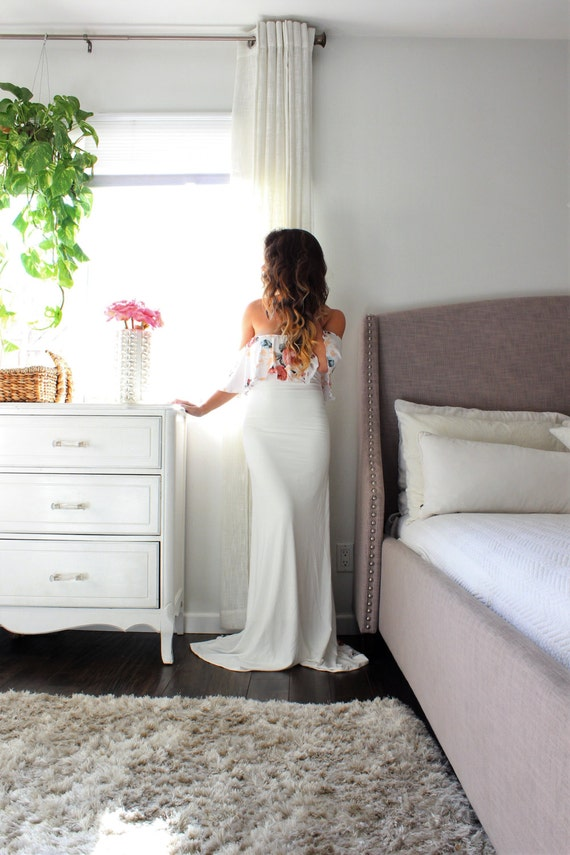 Maternity Gown fitted white maternity dress baby shower
