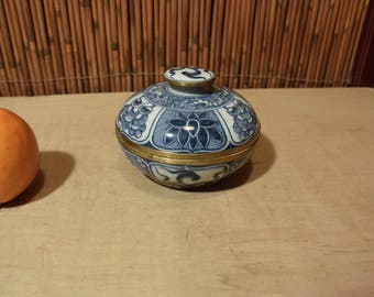 Vintage Thai Blue and White Handpainted Porcelain Bowl with Lid Bras Fitting