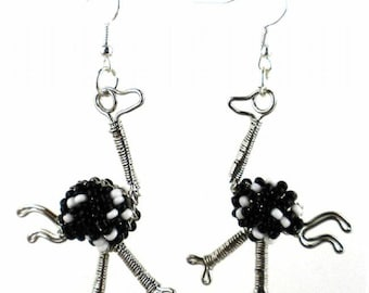 Hand-Beaded Ostrich Earrings - Free Domestic Shipping