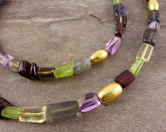 Gemstone necklace with 925 Silver gold plated, sterling silver necklace, Labradorite, chain Garnet, Amethyst, citrine, Iolite, gemstone, gold, multi colored, apatite