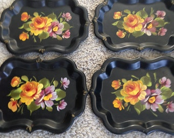 Four Hand Painted Tole Metal Trays Sscalloped and Beveled Edges
