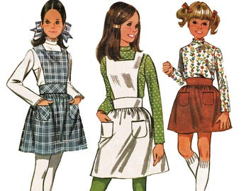 Vintage 60s Girls Apron Style Jumper Pattern Pinafore Pattern 1960s Sewing Pattern McCalls 9593 Girls Size 12