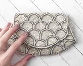 Midcentury Art Deco style beaded bridal evening bag.