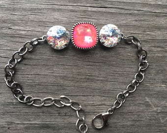Ultra Pink and white patina Swarovski 12mm cushionabtue silver plated brass