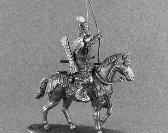 Action Figurine Medieval 1/32 Scale Japan Archer Horse Rider Cavalry Toy Soldier 54mm Tin Metal Miniature