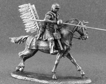 Handmade Toy Soldier Polish Winged Hussar Cavalry Unpainted Soldier  2 1/4 Scale Toy Soldiers 54mm Tin Metal Miniature Statuette