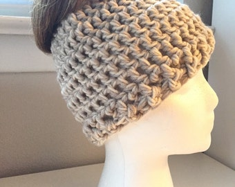 Hand crocheted messy bun top knot ponytail beanie hat, taupe and cream