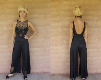 1970's vintage black dreamy nightwear jumpsuits onsie romper with lace, open back SM flares bell bottoms wide leg