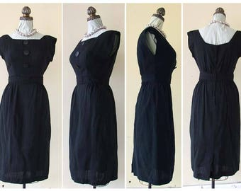 Vintage 50s Black Wiggle Dress Curvy & Cool Bombshell Dress S