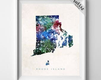 Rhode Island Map Print, Providence Print, Providence Map, Wall Decor, Watercolor Painting, Travel Poster, Home Decor, Christmas Gift