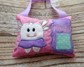 Personalized Tooth Fairy Pillow - Girly Tooth Fairy - Light Pink, Light Purple, Aqua, Sparkle - Child Kid Girl