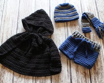Crochet Ravenclaw Harry Potter Baby Outfit // House Hat, Scarf, Diaper cover, and Cloak // Gryffindor Hufflepuff Ravenclaw Slytherin